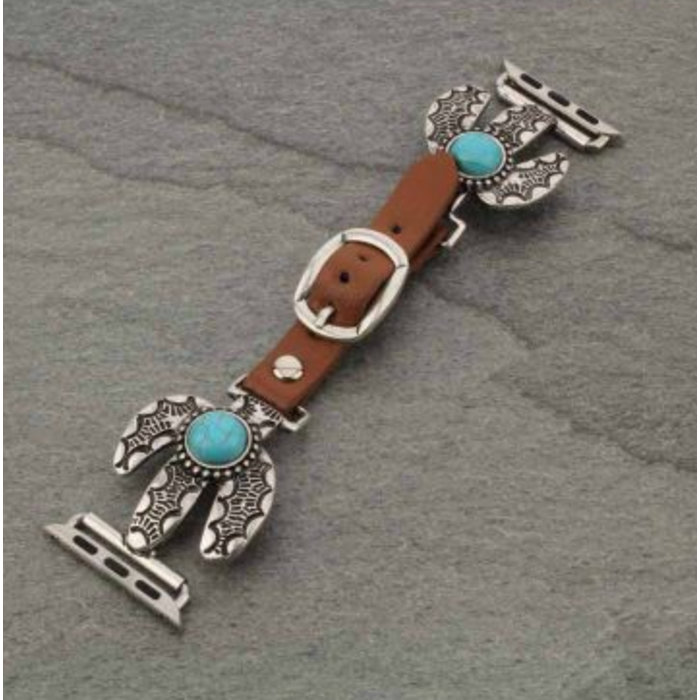 Turquoise Western Cactus Apple Watch Leather Band