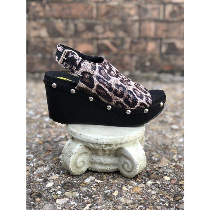 Porsum Vintage Leopard Wedge Sandal
