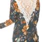 Crochet V Back Teal Rose Print Long Sleeve Top