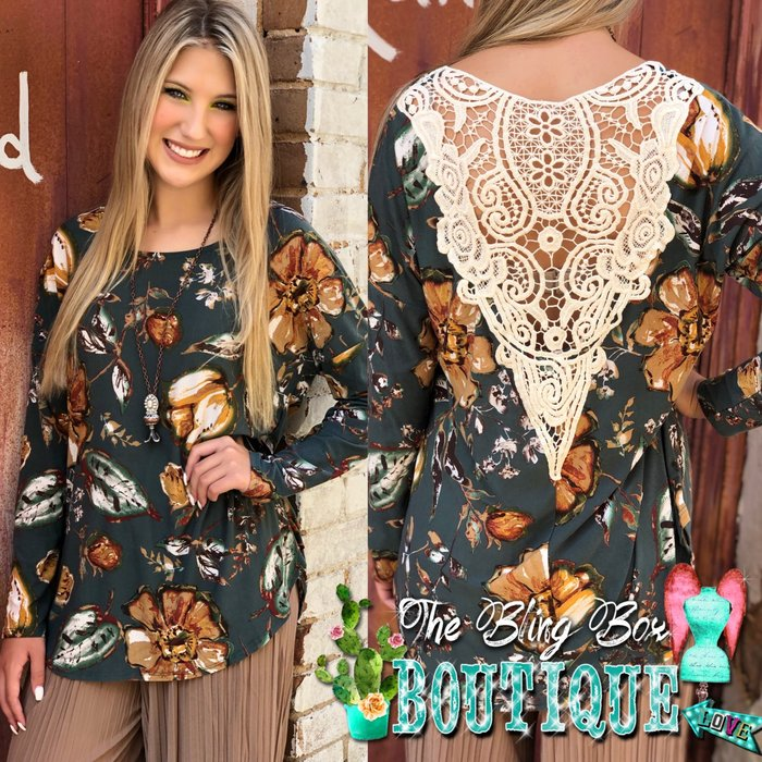 Crochet V Back Teal Rose Print Long Sleeve Top