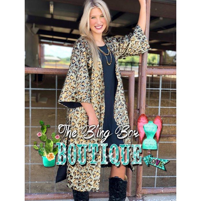 Leopard Print  3/4 Sequin Duster Kimono