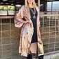 Rose Gold Print 3/4 Sequin Duster Kimono