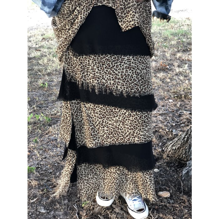 Leopard & Black Layered Handmade Maxi Skirt