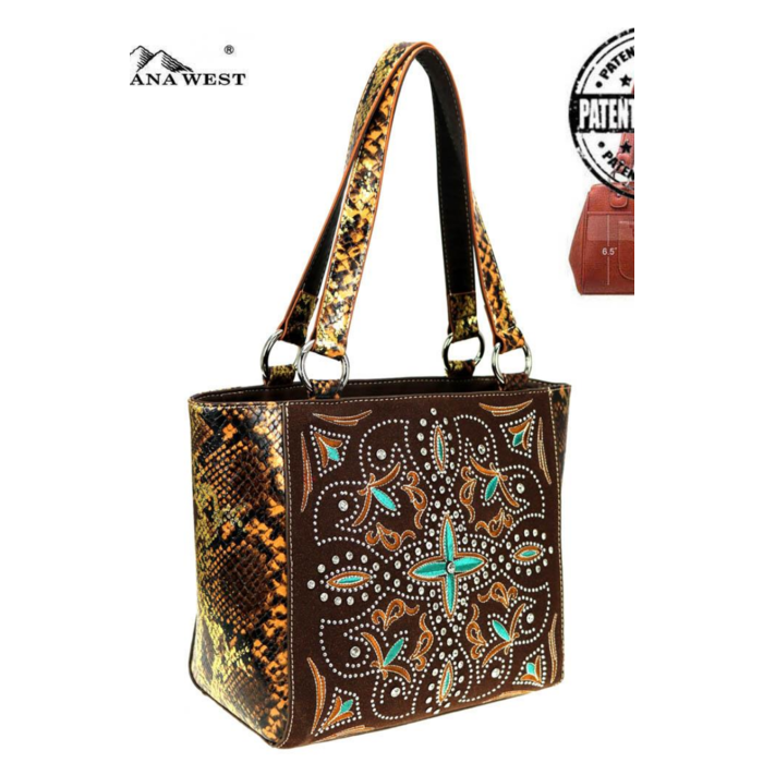 Embroidered Snake Skin Brown Concealed Carry Handbag