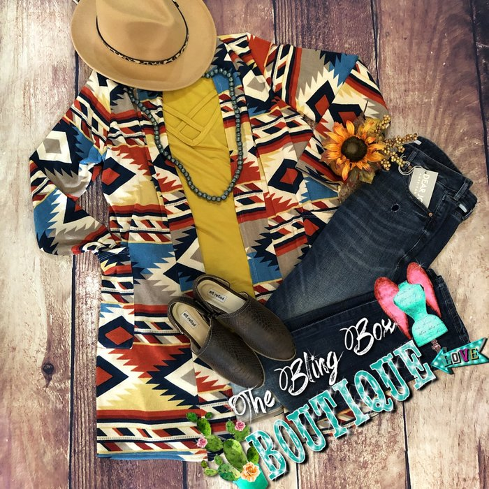 Fall Aztec Print Long Cardigan