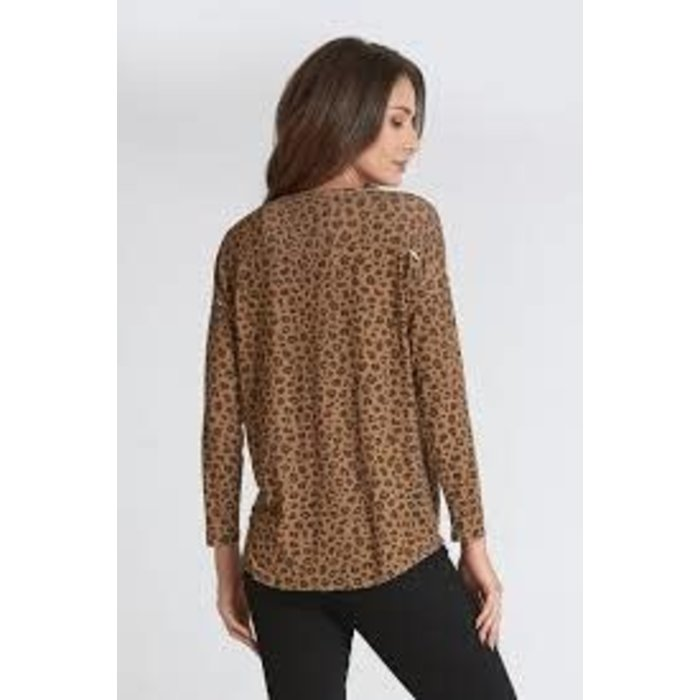 Snow Leopard Beckam V-Neck 3/4 Sleeve Top