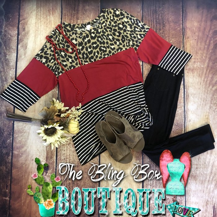Leopard Red Striped 3/4 Sleeve Top