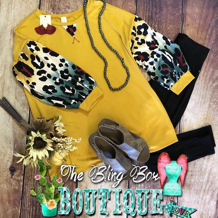 PLUS Mustard Multi Leopard Print Bubble Sleeve Tunic