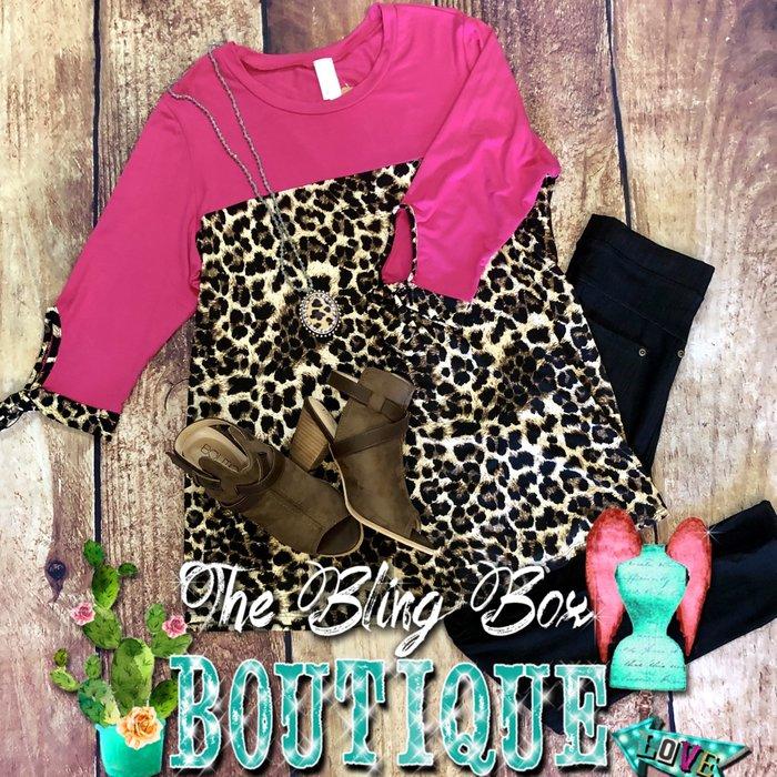 PLUS Leopard Fuchsia Tie Sleeve Tunic