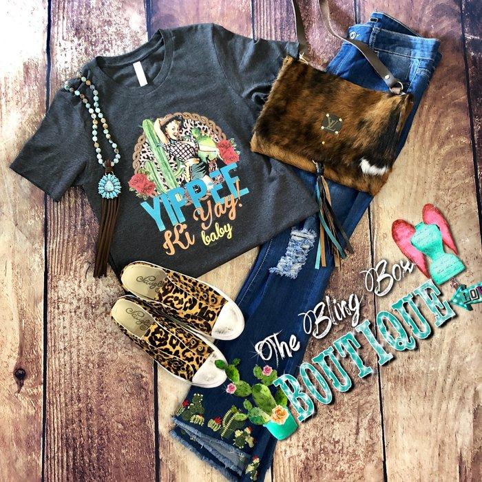 Yippi Ki Yay Baby on Charcoal T-Shirt