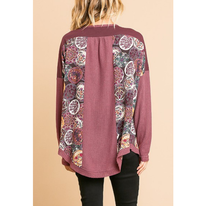 Berry Waffle Knit Long Sleeve Top