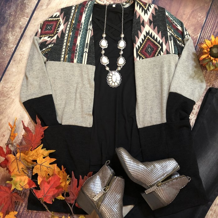 Aztec Print Taupe & Black Colorblock Cardigan