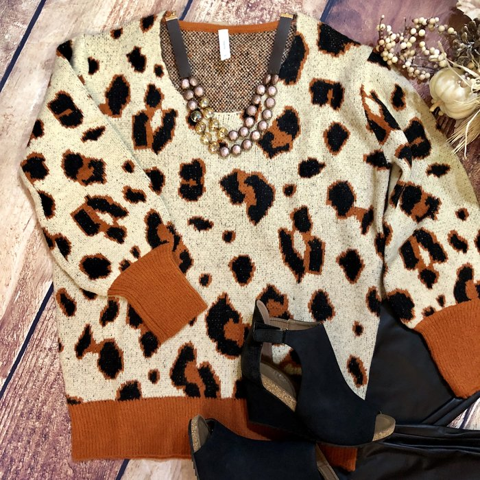 Brown & Rust Leopard Sweater
