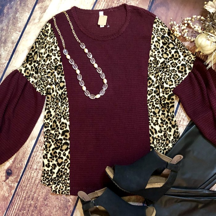 Maroon & Leopard Bubble Sleeve Top