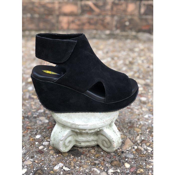 Black Welch Peep Toe Wedge w/Velcro Closure