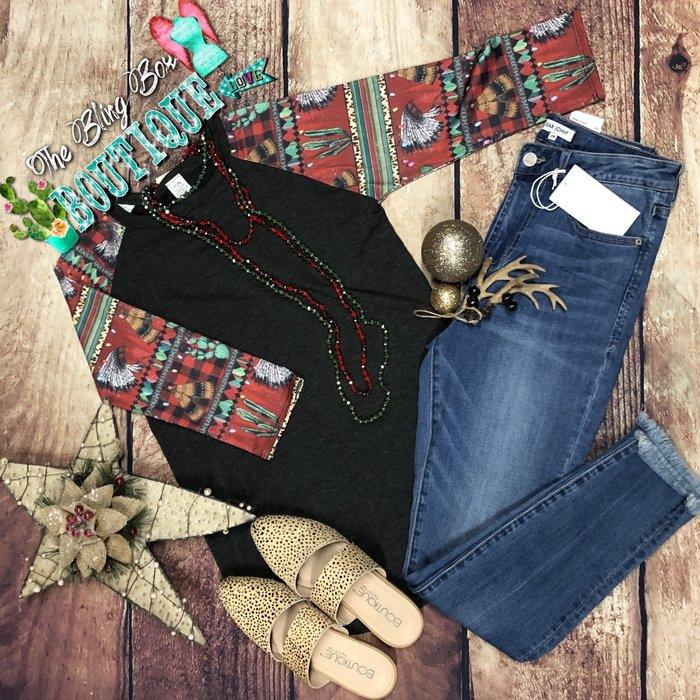Charcoal Western Christmas Sleeve Top