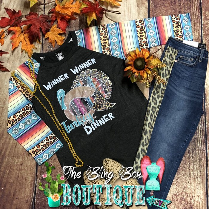 Charcoal Aztec Serape Winner Winner Turkey Dinner Raglan
