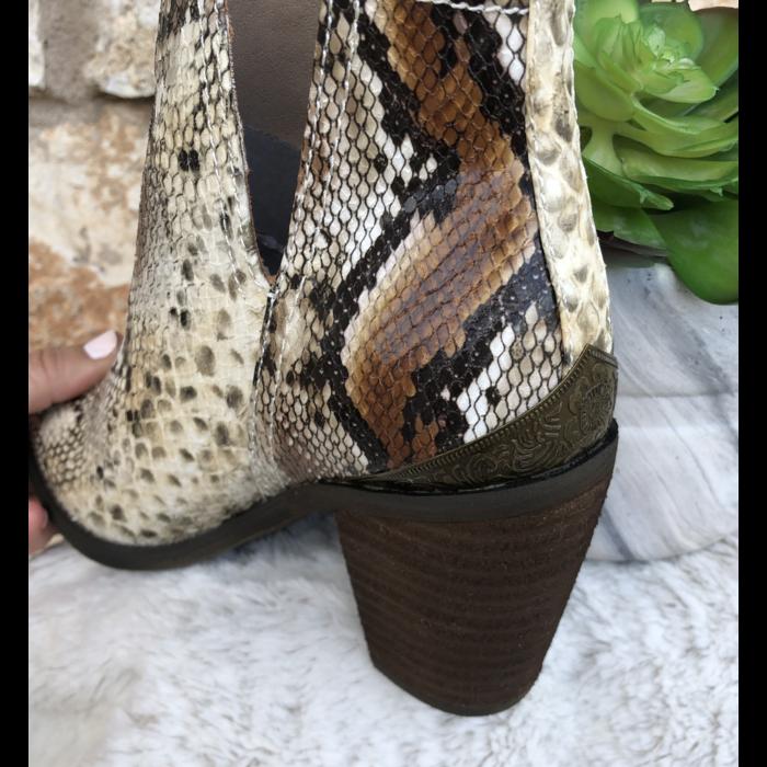 Mumba Beige Multi Snake Skin Bootie