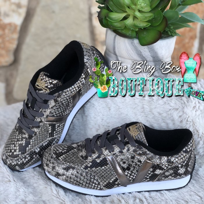 Fitness Taupe Multi Snake Skin Tennis Shoe