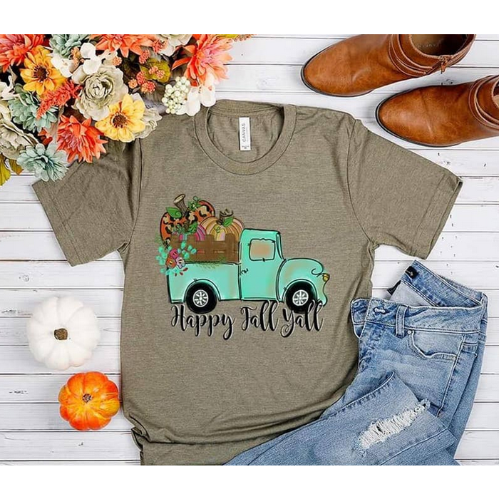 Happy Fall Teal Truck on Heather Olive T-Shirt