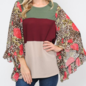 Color Block Leopard Floral Ruffle Sleeve Top