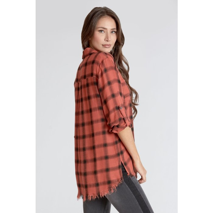 Emily Plaid Bright Coral Button Up Top