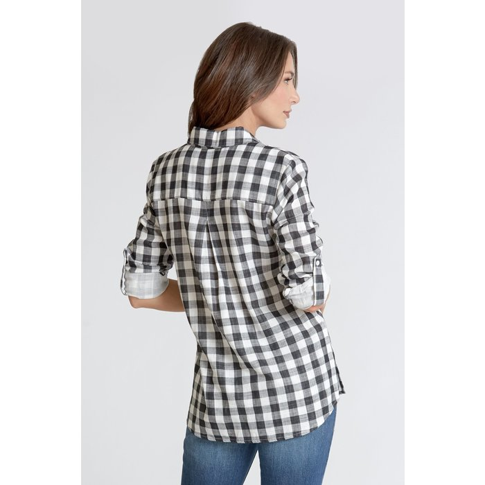 Emily Double Plaid Black Printed Button Up Top