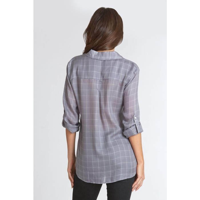 Emily Pewter Plaid Button Up Top