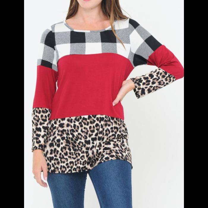Black & White Plaid Leopard & Red Color Block Tunic