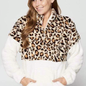 Leopard & Cream Sherpa with Front Zipper
