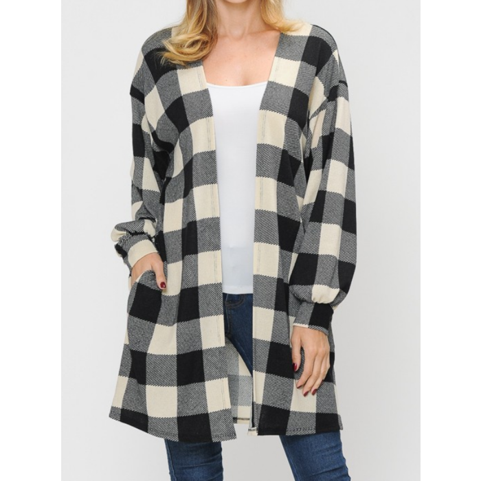 Black & White Buffalo Plaid Bubble Sleeve Cardigan