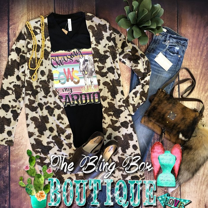 Cow Print Long Cardigan with Pockets