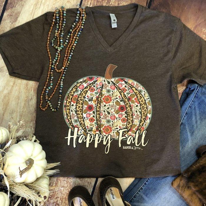 Happy Fall Floral Pumpkin on Mocha V-Neck Tee