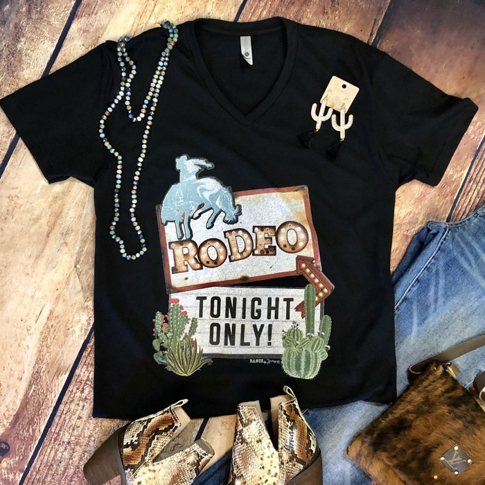 Rodeo Tonight Cactus V-Neck Tee