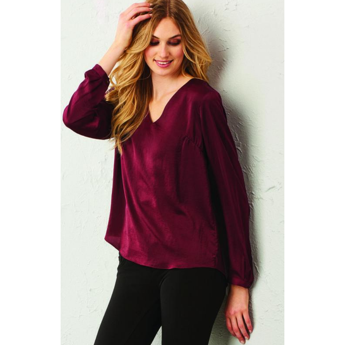 Charlie Paige Wine Woven Long Sleeve Top