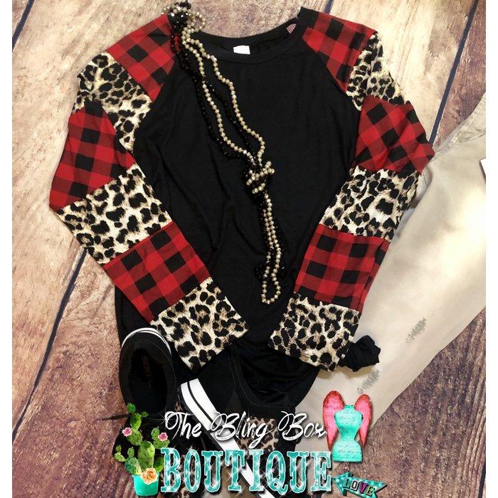 Leopard & Buffalo Plaid Long Sleeve Top