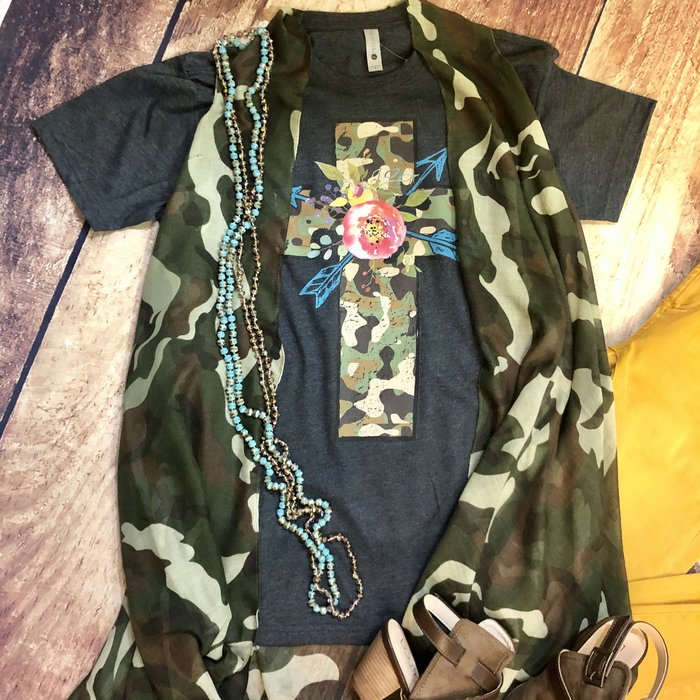 Camo Cross with Floral Arrow on Charcoal Tee