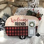 Welcome Friends Christmas Camper Sign