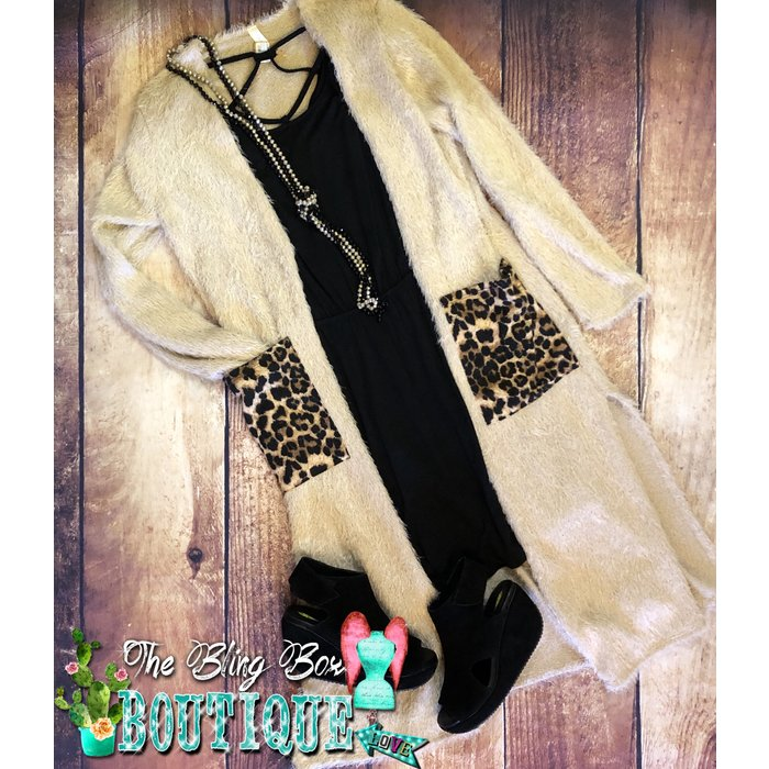 Mocha Leopard Pocket Fuzzy Duster Cardigan
