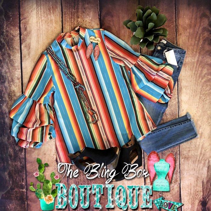 Turquoise Serape Mock Neck Ruffle Sleeve Top