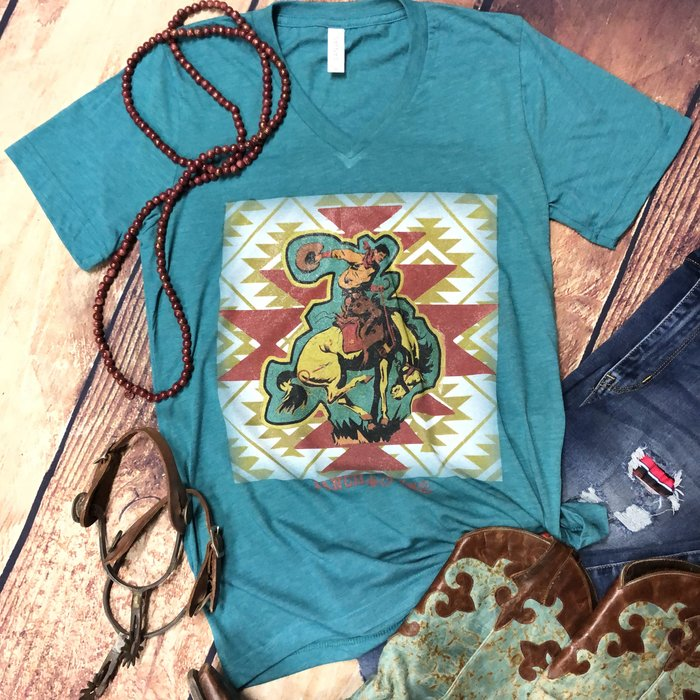 Teal Aztec Bucking Horse V-Neck T-Shirt