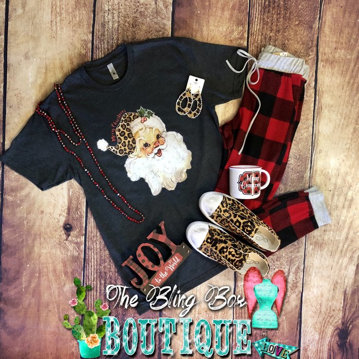 Leopard Vintage Santa T-Shirt