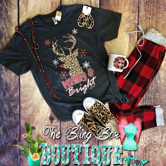 Merry & Bright Leopard Snowflake Deer T-Shirt