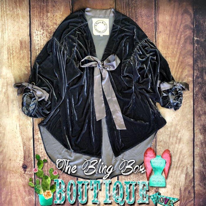 Silver Velvet Satin Ribbon Adjustable Jacket