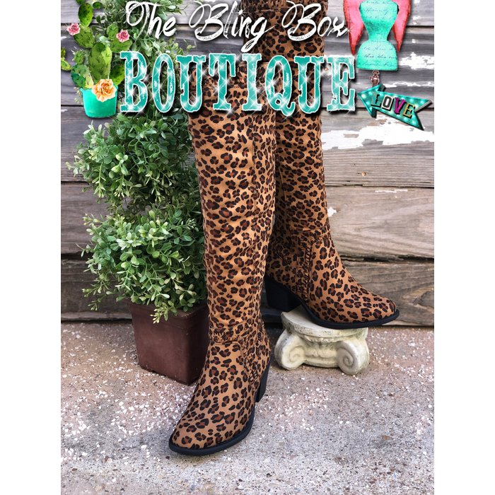Ladder - Leopard Print Tall Stretch Calf Boot