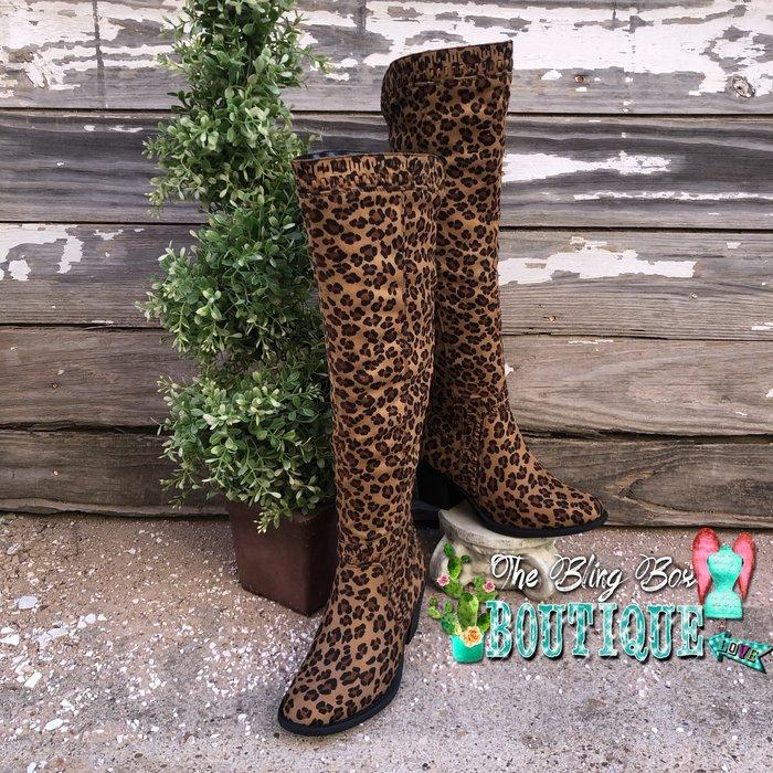 Ladder - Leopard Print Tall Stretch Calf Boot