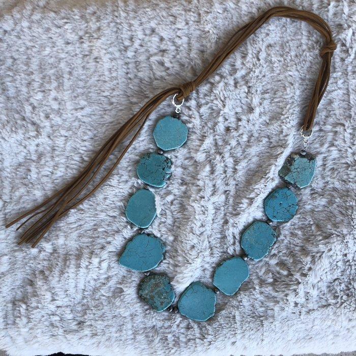 Turquoise Howlite Slab Leather Tassel Necklace