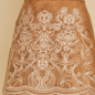 Camel Embroidery Scalloped Suede Skirt