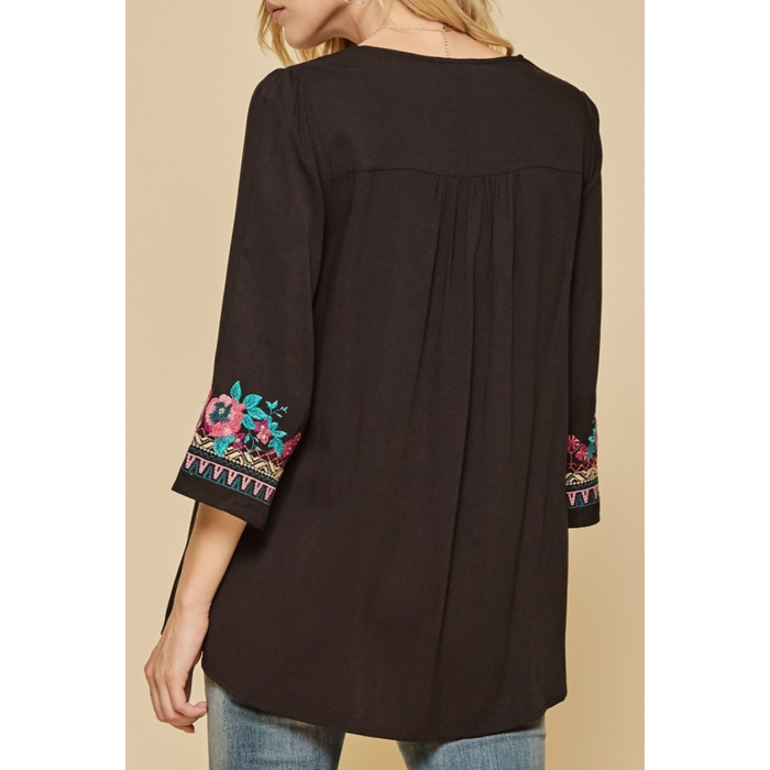 Flowy Black Floral Embroidered Blouse