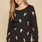 Plus Black Embroidered Cactus Sweatshirt